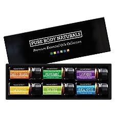 Pure Body Naturals Essential Oils Gift Set, Lavender/Tea Tree/Eucalyptus/Lemongrass/Orange/Peppermint, 6 count - 10 ml