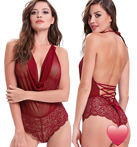 Zexxxy Women Sexy One Piece Lace Lingerie Lace-up at Back Nightwear ZE0030