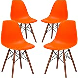 Poly and Bark EM-105-WAL-ORA-X4 Eames Style DSW Side Chair with a Walnut Base (Set of 4), Orange