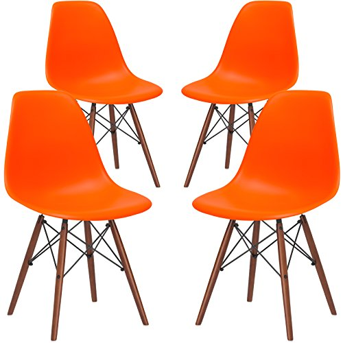 Poly and Bark Vortex Modern Mid-Century Side Chair with Wooden Walnut Legs for Kitchen, Living Room and Dining Room, Orange (Set of 4)