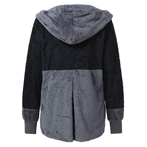 Mujer B Capa 2018 Suéter Con Casual Ofertas Lana Abrigos Elegante Bolsillo Invierno negro Largo Chaquetas De dxdwAU