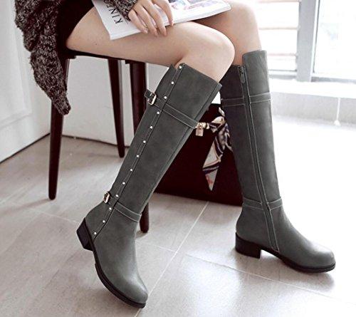 43 de e invierno botas de otoño caballero sección Botas de 42 larga con mujer CYGG tamaño 41 de mujer gray zapatos gran xa7SRwqq