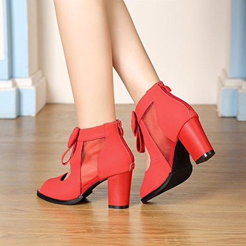 ... Getmorebeauty Femmes Peep Toe Découper Arcs Vintage Chunky Talon  Cheville Bottes Rouge ...