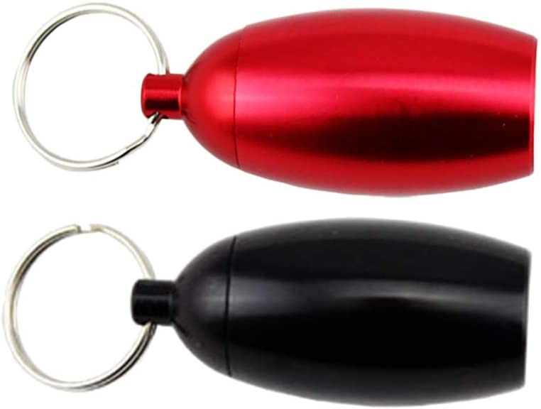 LIOOBO Waterproof Pill Case Keychain Small Pill Box Bottle Holder Tough Pill Container Tank for Men Women Purse Pocket Outdoor Camping Grey