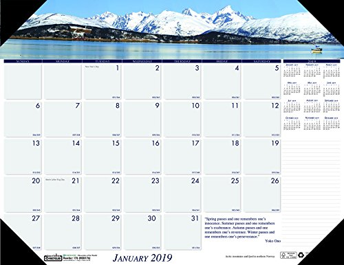 (House of Doolittle 2019 Monthly Desk Pad Calendar, Earthscapes Mountains, 22 x 17 Inches, January - December (HOD176-19))
