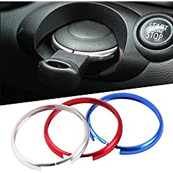 Aluminum Car Smart Key Ring With Keychain Protective Ring Replacement Key Fob Ring Rim Trim Cover Car key Decoration Accessories For BMW Mini Cooper JCW R55 R56 R57 R58 R59 R60 Blue