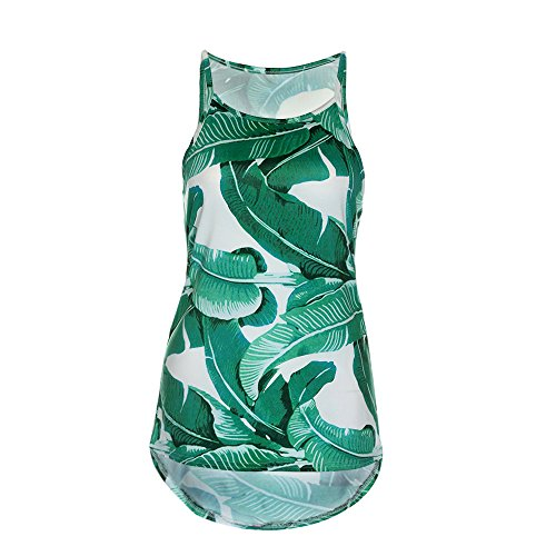 Tank Green Blouse Sleeveless Vest Floral WINWINTOM Women Summer Shirt Tops wx1BSR0zq