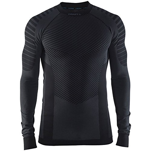 Craft Sportswear Men's Active Intensity Running and Training Fitness Workout Outdoor Sport Base Layer Long Sleeve Shirt, Black/Granite, 2X-Large