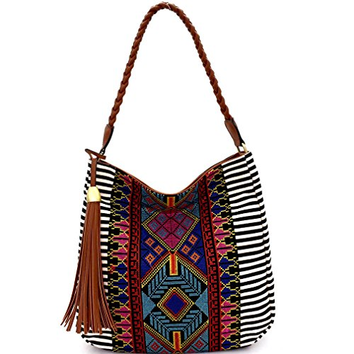 Charm MMS Stripes Black Studio w Boho Top Hobo Fringe Design Zip r8vqrZ