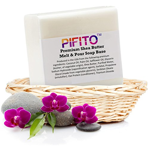 (Pifito Premium Shea Butter Melt and Pour Soap Base (2 lb) - 100% Natural Glycerin Soap Base - Luxurious Soap Making Supplies)