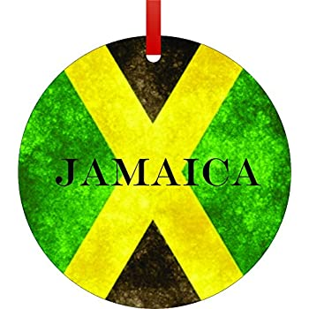 Jamaican Flag-Jamaica-Flat Round-Shaped Aluminum Christmas Ornament with a  Red Satin Ribbon/Holiday Hanging Tree Ornament/Double-Sided Decoration/Great  ... - Amazon.com: Jamaica ORNAMENT Caribbean Island Vacation Souvenir