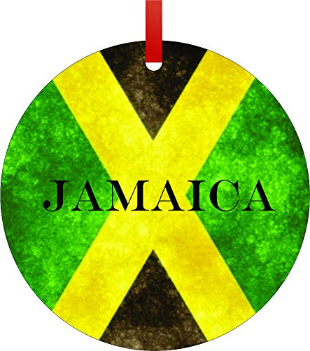 Jamaican Flag Jamaica Flat Round Shaped Aluminum Christmas Ornament With A Red Satin Ribbon Holiday Hanging Tree Ornament Double Sided Decoration Great