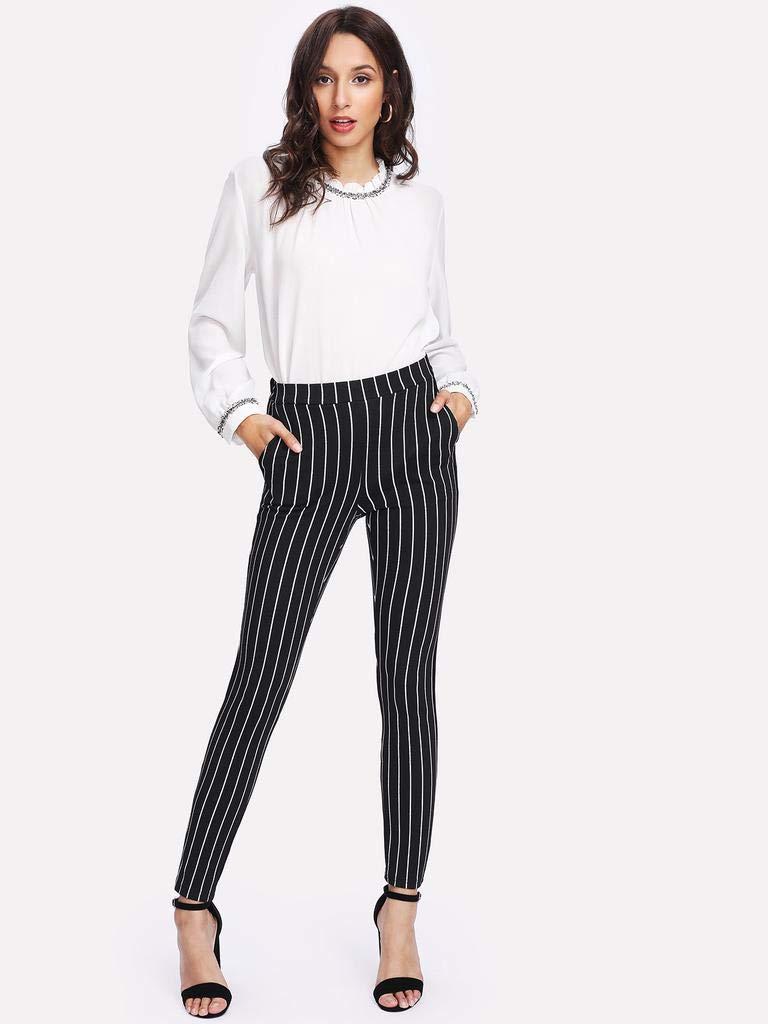 FAIYIWO Shein Vertical Striped Skinny Pants FAIYIWO Black L Size