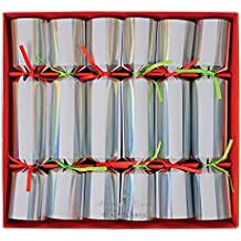 Crackers for Christmas or New Year's Eve Stylish Silver Foil with Neon Straps And Filling