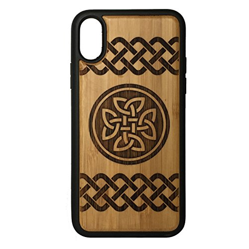 Knot Celtic Trim (Celtic Knot phone Case Cover for iPhone X by iMakeTheCase   Eco-Friendly Bamboo Wood Cover + TPU Wrapped Edges   Druid Irish Quaternary Dara Knot Tattoo St. Patrick's Day.)