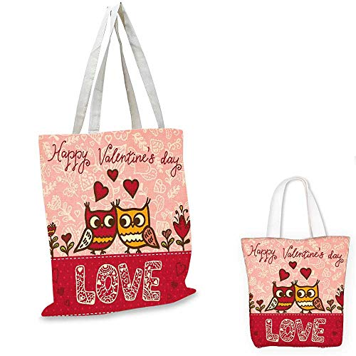 """Valentines Day canvas messenger bag Owls in Love Print Cute Partners Couples Boho Style Hearts Flowers Dots emporium shopping bag Pink Red Yellow. 12""""x15""""-10"""""""