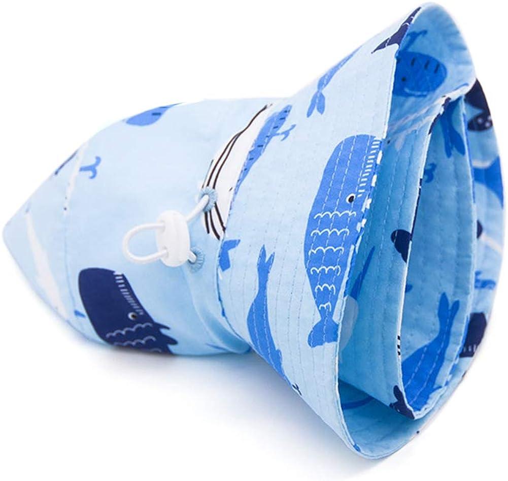 Aibrou Baby Sonnenschutz Cap Breite Krempe Baumwoll-Sonnenhut verstellbarem Kinnriemen Kleinkind Kinder weicher M/ütze Strandhut f/ür Jungen und M/ädchen