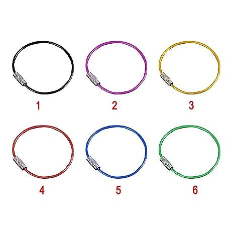 Schwarz 10 St/ück Edelstahl Draht Seil Ringe Schl/üssel Kette mit einem Schutz Schicht Fabige Stahl Ring Free Size - Blau