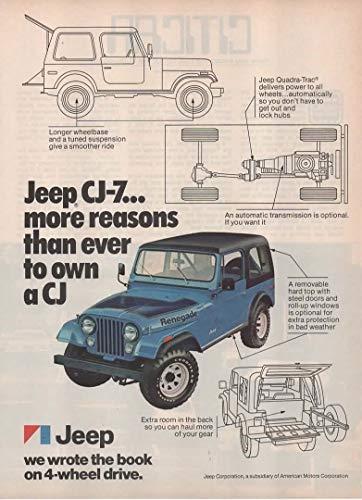 "Magazine Print Ad: Blue 1976 Jeep CJ-7 Renegade,""More Reasons than Ever to Own a CJ"""