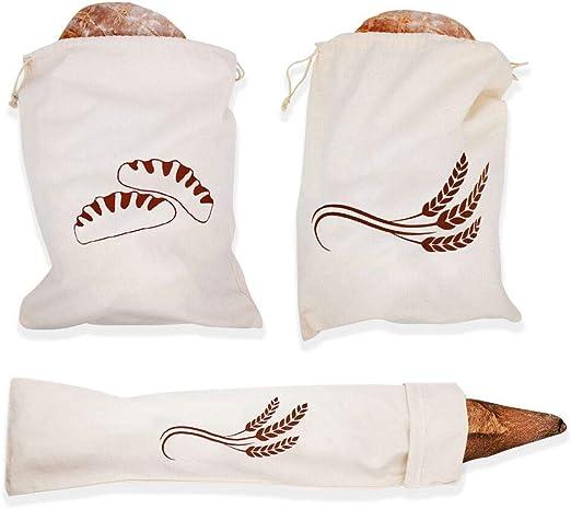 Paquete de 3 bolsas de pan de lino natural y algodón 100 ...