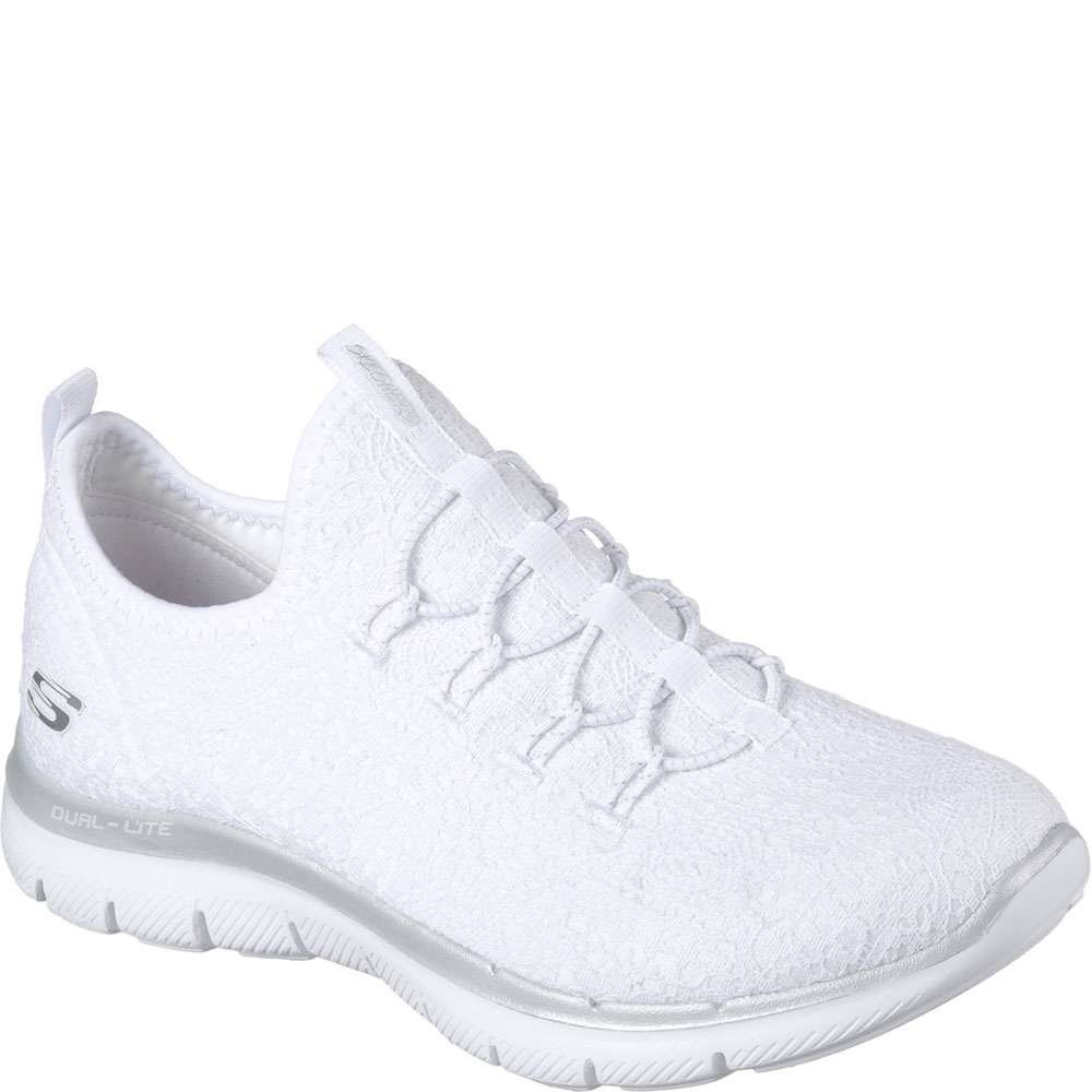 Skechers Sport Flex Appeal-Clear Cut Women's Slip On B0793398XS 9.5 B(M) US|White/Silver