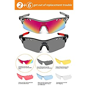 Polarized Sunglasses Mens Sunglasses 2 Pair Sports Sunglasses with 4 Interchangeable Lenses, Tr90 Unbreakable Sunglasses for Men Women Cycling Sunglasses (Orange&Red, Black&Grey)
