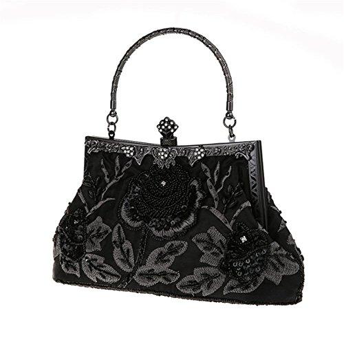 Black Bag BeautyWJY Evening Wedding Beaded Purse Clutch Handbag Sequined Party Women's Vintage XHHwpPA4