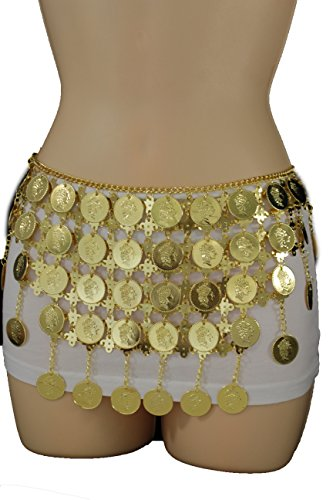Belly Dance Costumes Las Vegas (TFJ Women Fashion Metal Belt Hip Waist Drape Chains Coins Belly Dancing S M LGold)