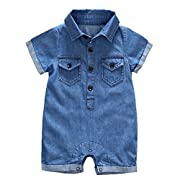 Y·J Back home Baby Boy Short Sleeve Jeans Romper Newborn One Piece Shirt La Organic Cotton Denim Polo Outfit Point Collar Shirts Infant Jumpsuit Clothes Button Down Clothing,3-6 Months