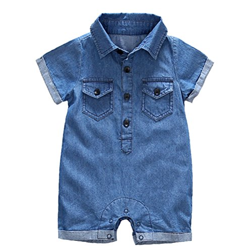 (Y·J Back home Baby Boy Short Sleeve Jeans Romper Newborn One Piece Shirt La Organic Cotton Denim Polo Outfit Point Collar Shirts Infant Jumpsuit Clothes Button Down Clothing,3-6 Months)