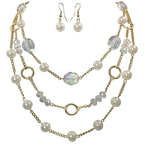 [3 Row Layered Imitation Pearl Beaded Necklace And Earrings Set - Assorted Colors (White)] (Pink Fish Costumes For Sale)