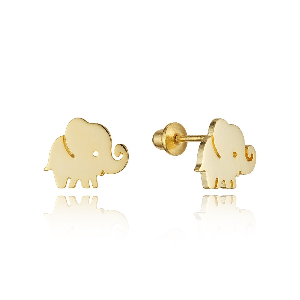 14k Gold Plated Brass Plain Baby Elephant Screwback Baby Girls Earrings with Sterling Silver Post