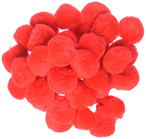 Darice 10177-30 Pom-Poms, 1-Inch, Red, 40-Pack