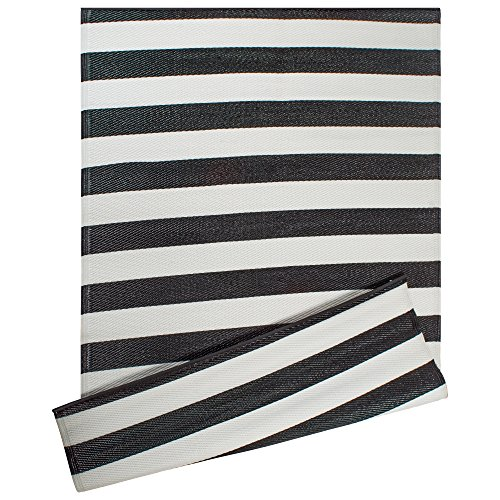 "DII Contemporary Indoor/Outdoor Lightweight Reversible Fade Resistant Area Rug, Great For Patio, Deck, Backyard, Picnic, Beach, Camping, & BBQ, 4 x 6', Black/White 3.5"" Stripe"