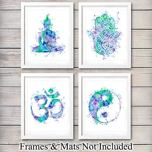 - Zen Meditation Wall Art Prints - Unframed Set Of 4 - Buddha, Yin Yang, Om And Hamsa Fatima Hand - Chic Home Decor - Great Gift For Yoga Fans - Ready Frame (8x10) Watercolor Photos