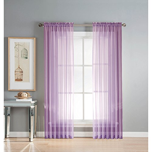 Window Elements Diamond Sheer Voile Extra Wide 56 x 63 in. Rod Pocket Curtain Panel, Lilac