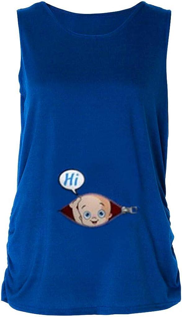 LANSKRLSP Premaman Abbigliamento Elegante Maglia maternit/à Divertenti Manica Corta Stampa Magliette Gravidanza Top di Madri Incinta T-Shirt Casual Camicetta per Estate Veste da Notte Donna