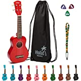Hola! Music HM-21RD Soprano Ukulele Bundle with Canvas Tote Bag, Strap and Picks, Color Series - Red