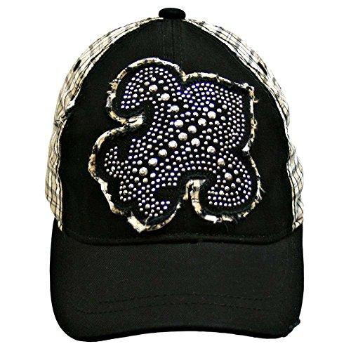 Luxury Divas Black Beige Plaid Baseball Cap With Giant Silver Studded Fleur De Lis