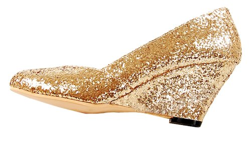 Honeystore Wig Sequins Fabric Pump Gold