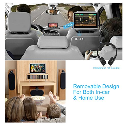 NAVISKAUTO 10.1 Inch Headrest DVD Player HD 1080P LCD Screen Headrest Monitor Backseat CD/USB Player with HDMI Port and Remote and Cigar Lighter Charger and Wall Charger and Headphone(CH1003B+Y0101S) by NaviSkauto (Image #4)
