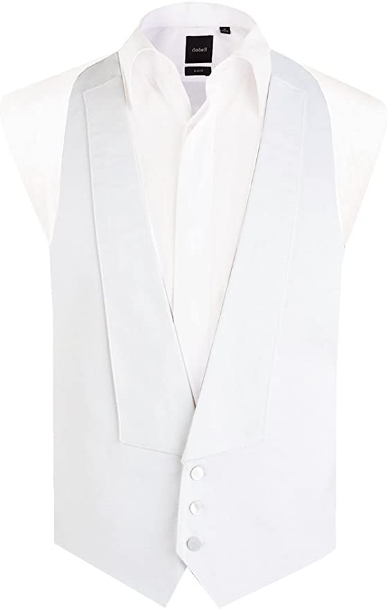 1920s Men's Fashion UK | Peaky Blinders Clothing Dobell Mens White Marcella Waistcoat Regular Fit 100% Pique Cotton Backless White Tie Evening £39.99 AT vintagedancer.com