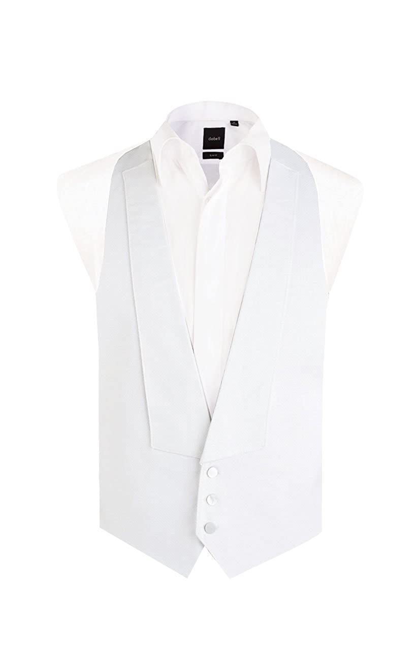 1920s Fashion for Men Dobell Mens White Marcella Vest Regular Fit 100% Pique Cotton Backless White Tie Evening Waistcoat $59.95 AT vintagedancer.com