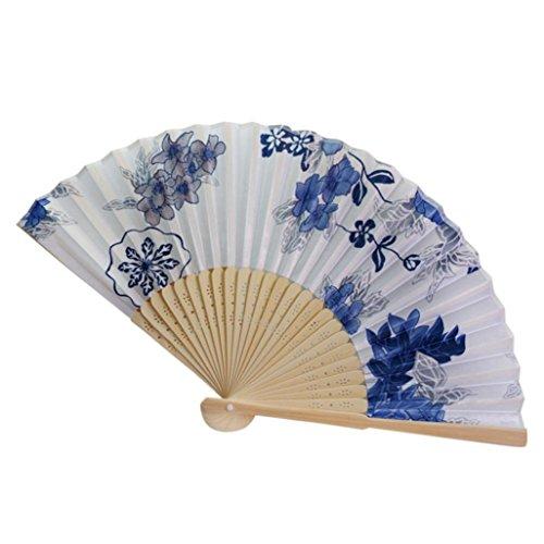 Flower Fan Bamboo - Folding Hand Fan,Hongxin Colorful Vintage Bamboo Folding Hand Held Flower Fan Pocket Fan Birthday Party Decoration Favors Gift Women Dancing Hand Fans Decor (H)