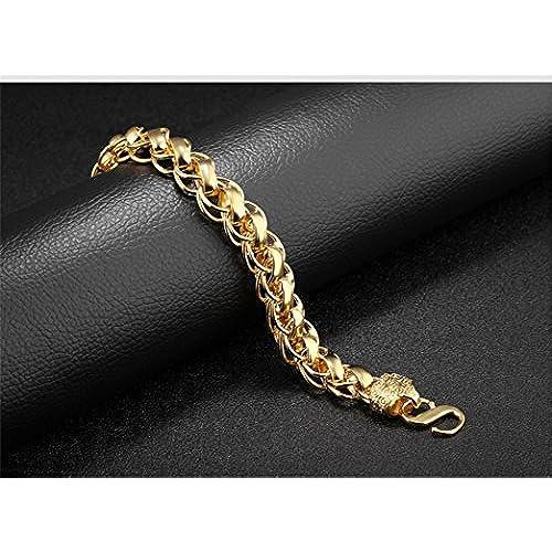 9d0ddf0b78f7 HAMANY Pulsera de cadena ancha con borde enchapado en oro de 18 quilates  para hombres de
