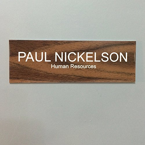 - Office Nameplate Desktop or Wall Mount Custom Engraved Sign Select Your Size and Color - Walnut/White Letters - 2