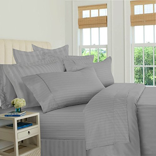 Bed Bath Fashions 500 Thread Count 100% Egyptian Quality Cotton Stripe Bed Sheet Set, 4 Piece Set, Long-staple Combed Pure Cotton Bed Sheets, Soft Sateen Weave by (California King, Grey)