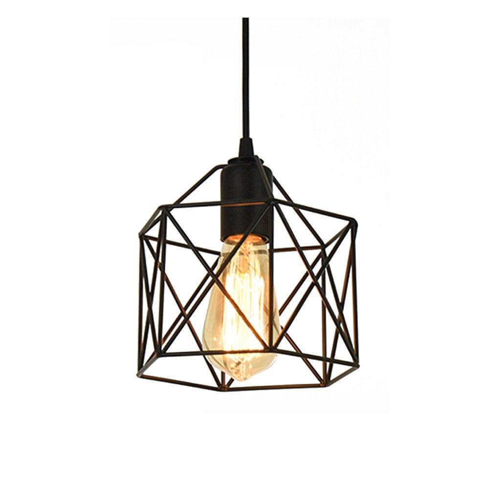 Lysed Industrial Metal Pendant Light, Vintage Steel Pendant Light Hanging Light Fixture for Kitchen Hallway Bedroom Dining Table