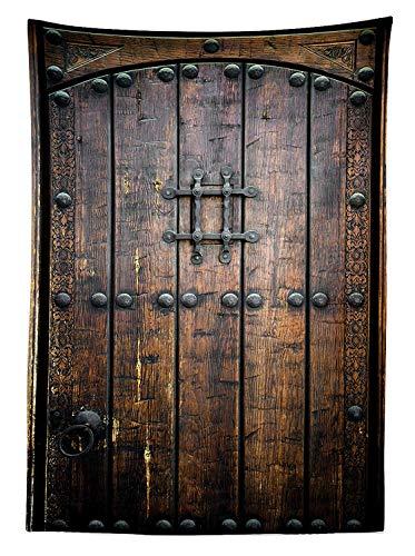 Yeuss - Mantel rustico decorativo, antiguo, de madera, para puerta, estilo antiguo, vintage, con estructura medieval, diseno artistico, para comedor, cocina, mesa rectangular, 60 x 90(150 x 228 cm)