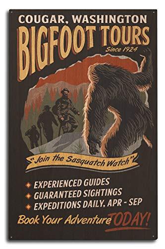 Lantern Press Cougar, Washington - Bigfoot Tours - Lone Fir Resort 98707 (10x15 Wood Wall Sign, Wall Decor Ready to Hang)